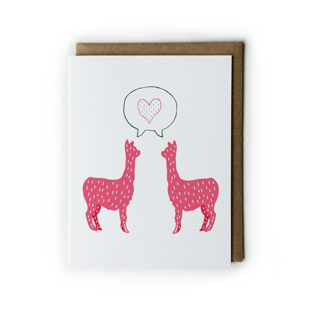 Pink Alpaca Heart Card