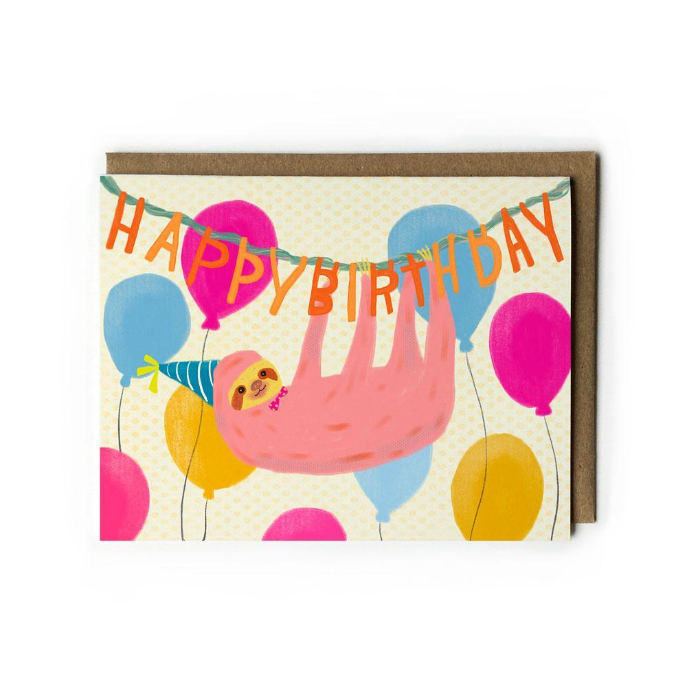 Sloth Happy Birthday Card