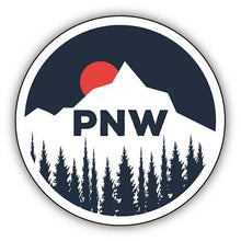 Load image into Gallery viewer, PNW Sun Setting Behind Mountain/ Large Printed Sticker