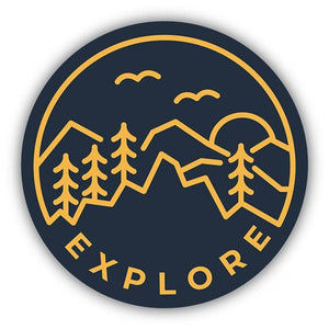 Explore Circle/ Large Printed Sticker