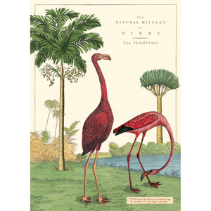 An art print and paper wrap which features two flamingos near a palm tree