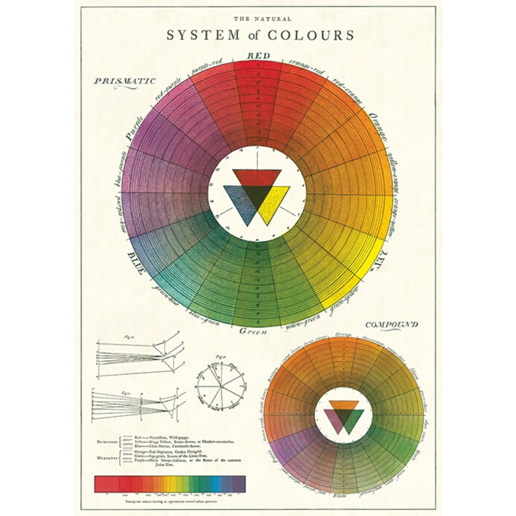 An art print and paper wrap which features an illustration of the colorwheel and chromatic mixing