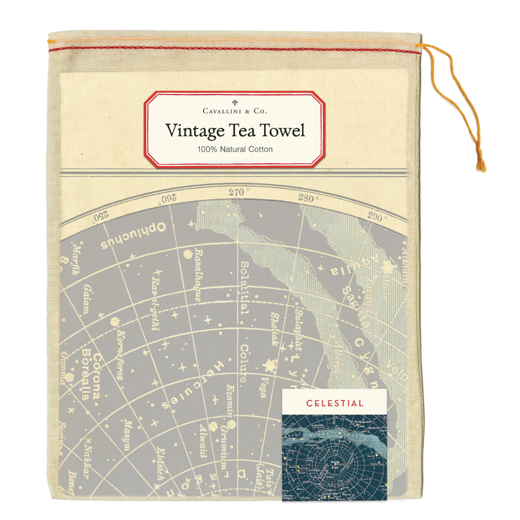 A natural cotton cream colored tea towel featuring a vintage celestial chart illustration