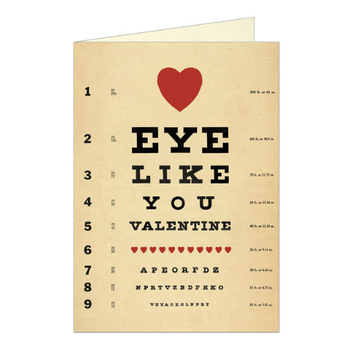 Greeting card featuring a pun and a vintage illustration of an eye chart, which says