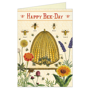 "Greeting card that features vintage illustration of bees, saying ""happy bee-day"" as a birthday pun.."