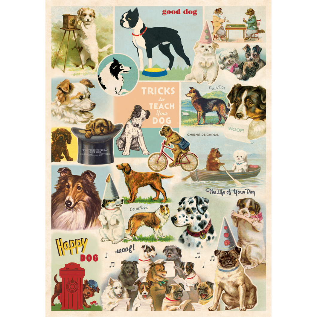 An art print and paper wrap which features various species of dogs