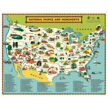 Load image into Gallery viewer, Cavallini & Co National Parks Map 1,000 Piece Puzzle