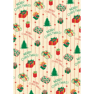 An art print and paper wrap which features various green and red presents