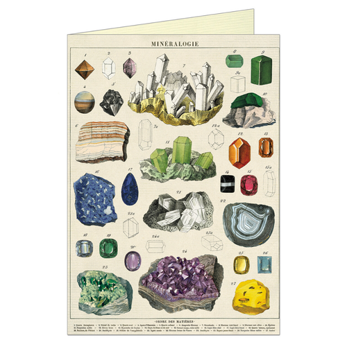 Vintage greeting card featuring various minerals.