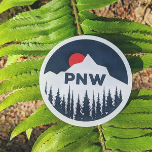 PNW Sun Setting Behind Mountain/ Large Printed Sticker