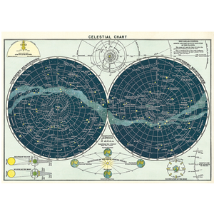 An art print and paper wrap which features a celestial chart of the night skies