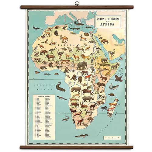 A vintage wall chart featuring various species of animals, superimposed over a map of Africa.