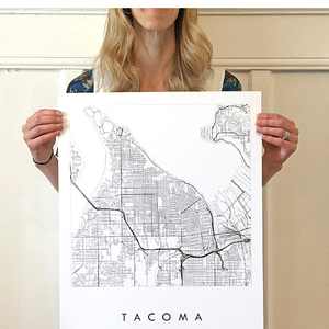 Tacoma City Lines Map (16x20)