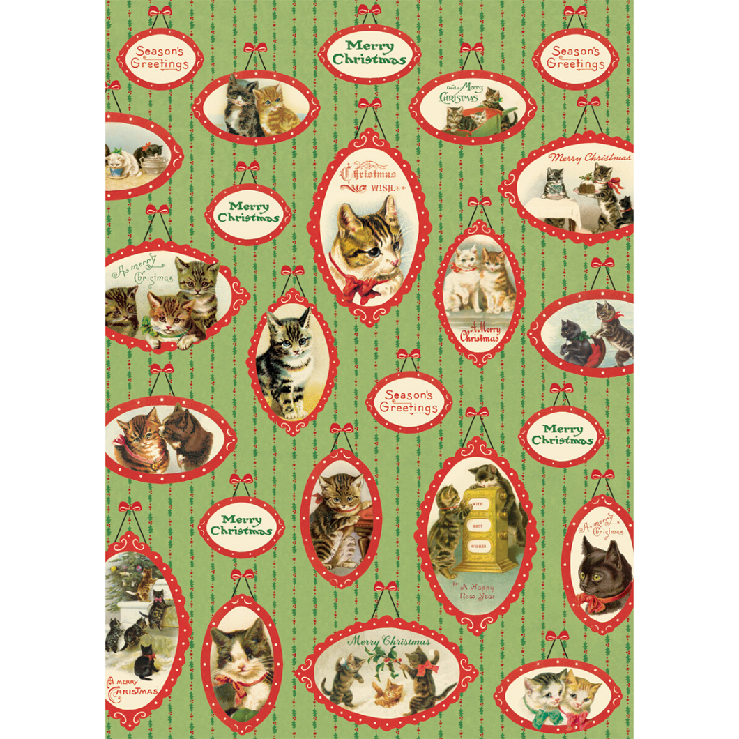 An art print and paper wrap which features various pictures of christmas cats