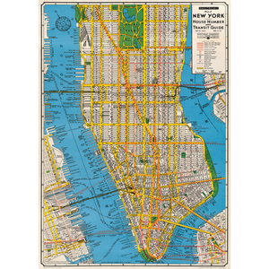 An art print and paper wrap which features a vinage map of new york city