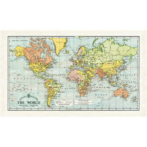 Cavallini & Co. World Map Tea Towel