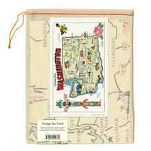 Load image into Gallery viewer, Cavallini & Co. Washington Map Tea Towel