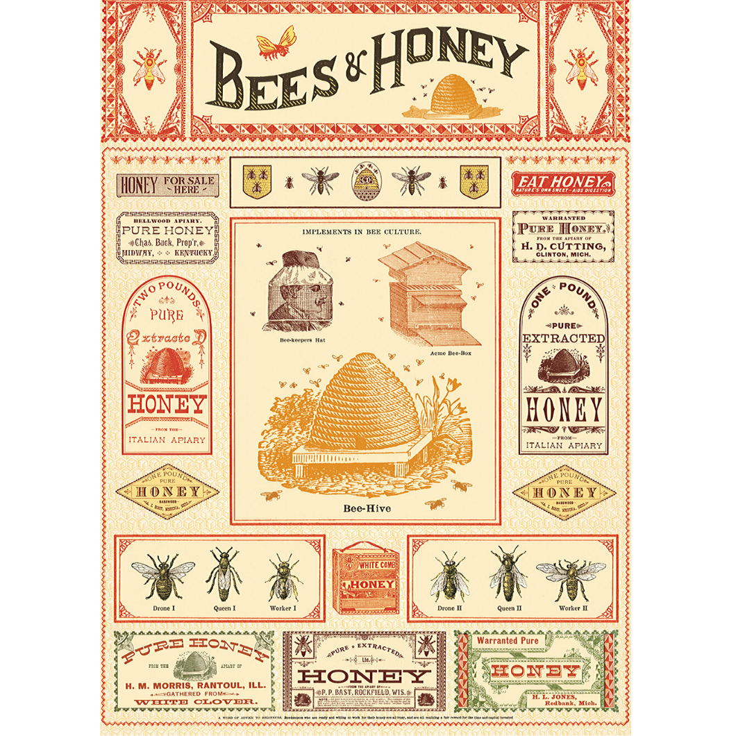 An art print and paper wrap which features an illustration of bee and honey advertisements and labelling