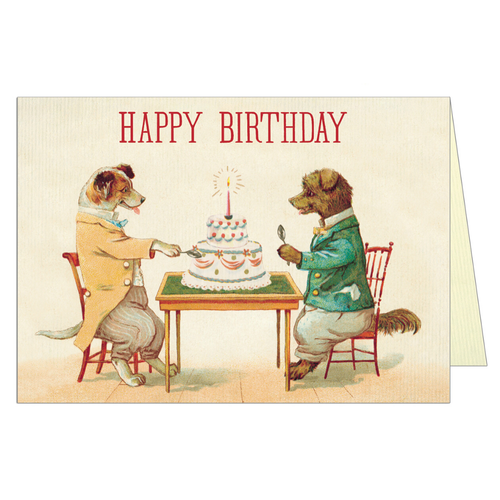 Vintage birthday card featuring two dogs sitting across a table with a cake on it