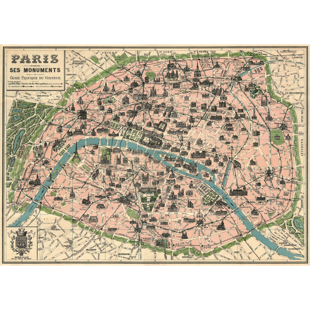 An art print and paper wrap which features a vinage map of paris