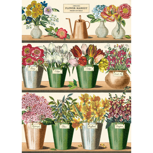 An art print and paper wrap which features various market flowers on a shelf