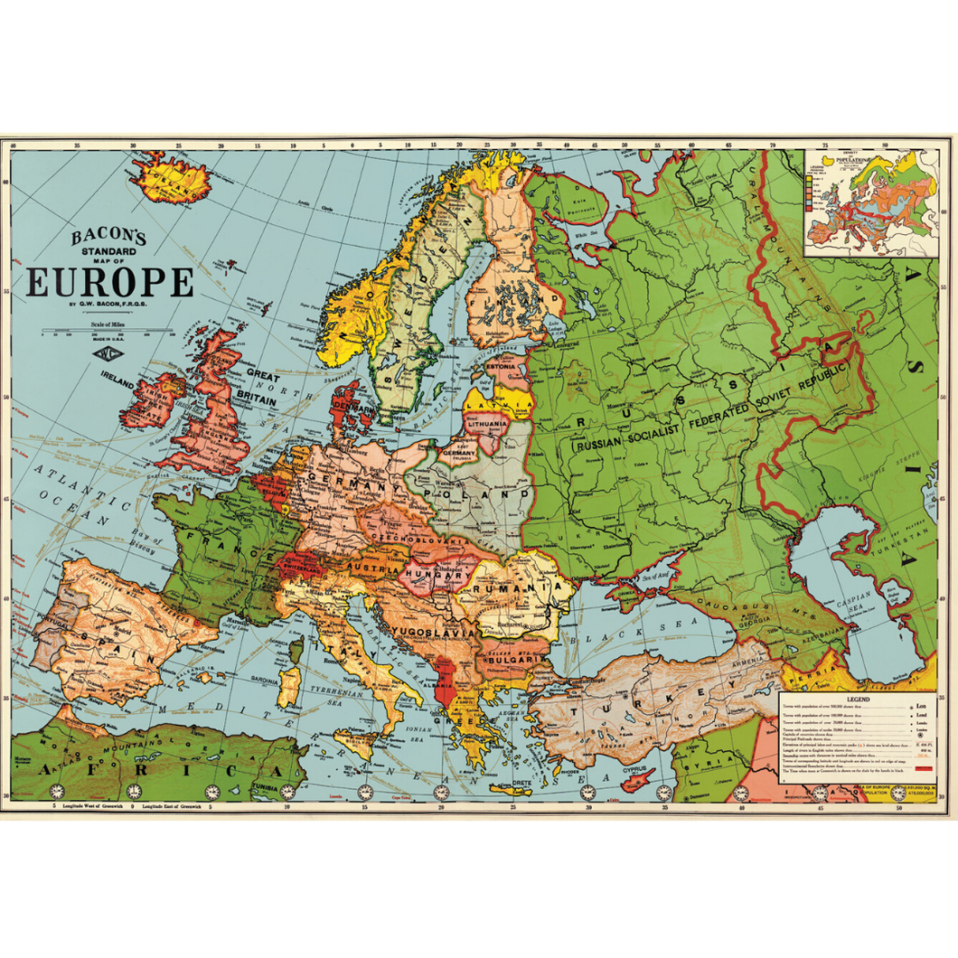 An art print and paper wrap which features a map of old europe