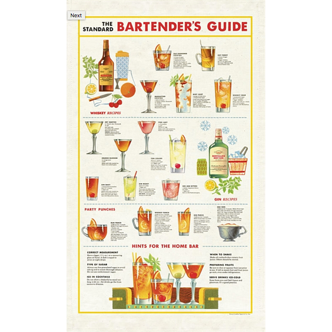 Cavallini & Co. Bartenders Guide Tea Towel