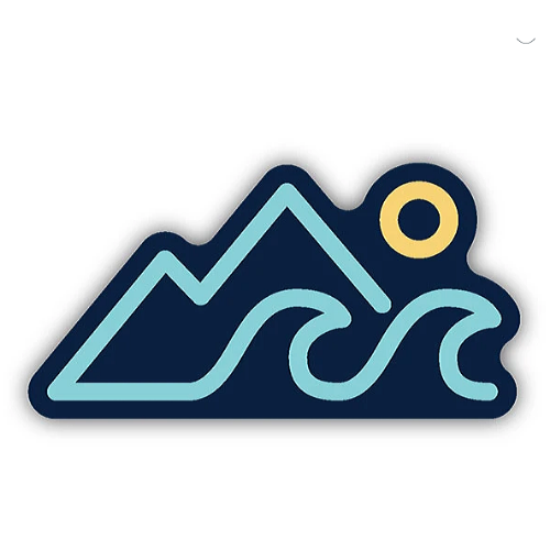 Mountains, Wave, Sun/Large Printed Sticker