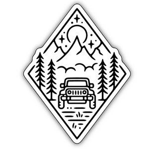 Outdoor Jeep Scene/ Large Printed Sticker