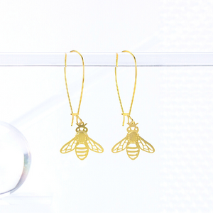 Honeybee Earrings a tea leaf