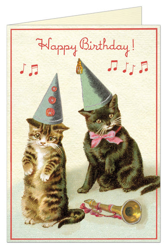 Vintage birthday card featuring two kitties wearing hats near a trumpet.