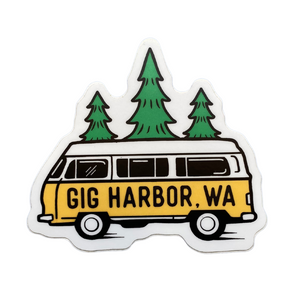 Gig Harbor/Bus And Trees/Large Printed Sticker