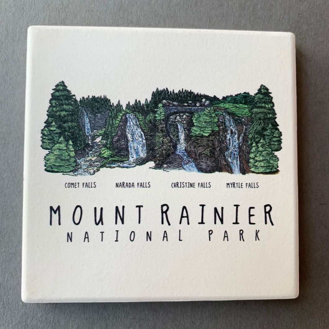 Mount Rainier NP Waterfall Montage Coaster