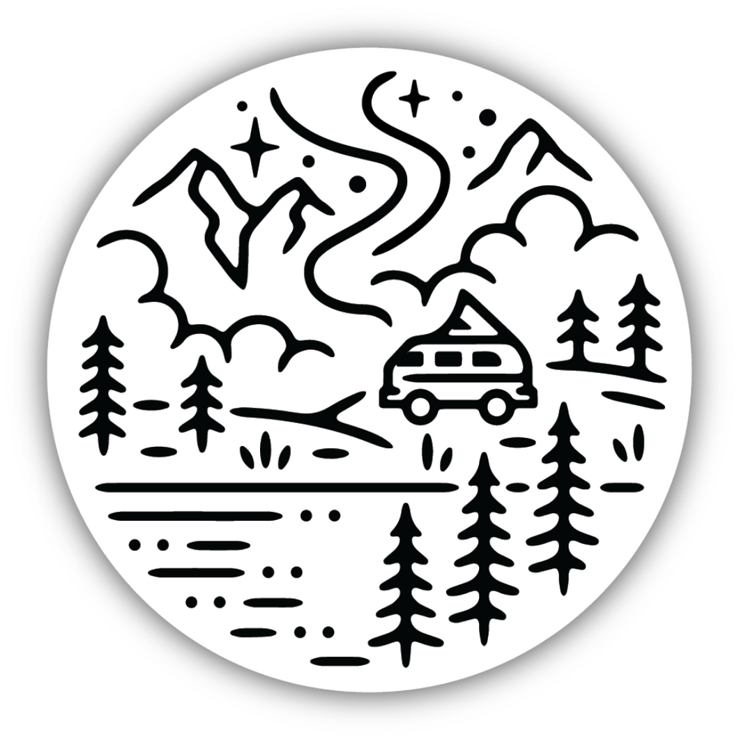 Outdoor Camper Scene Sticker