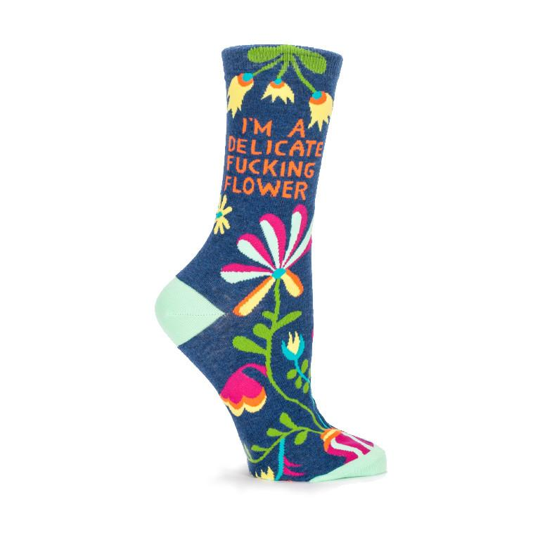 Delicate Fucking Flower Crew Socks