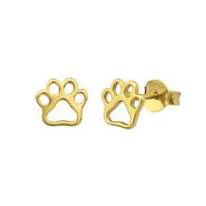 V GD Paw Stud Earrings