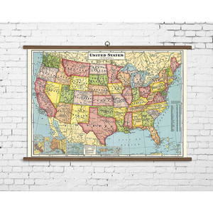 A vintage wall chart featuring a map of the united states.