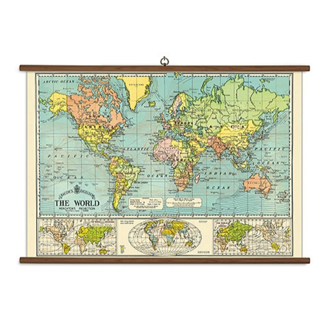 A vintage wall chart featuring a map of the world in soft colors.
