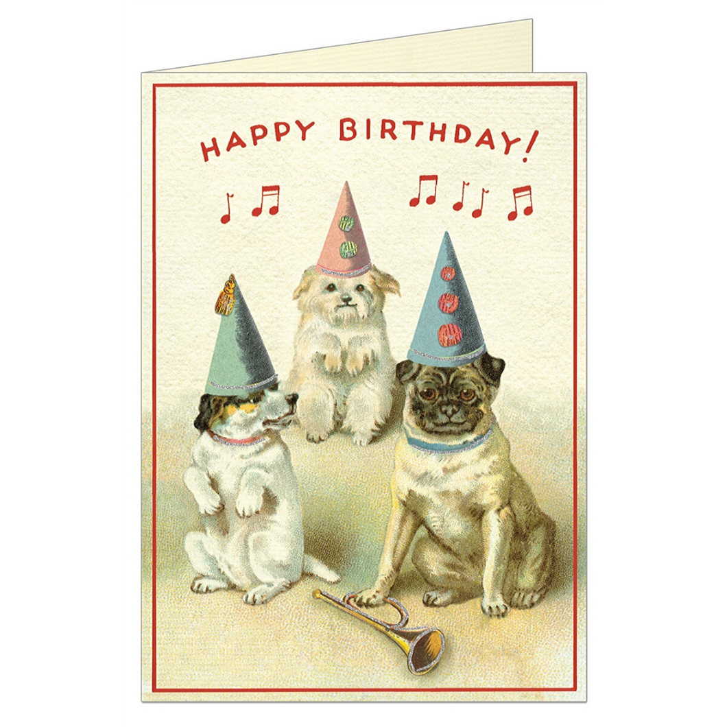 Vintage birthday card featuring three dogs wearing hats while music plays