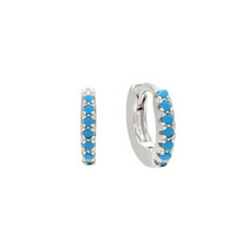 Load image into Gallery viewer, Turquoise Huggie Hoops-Silver