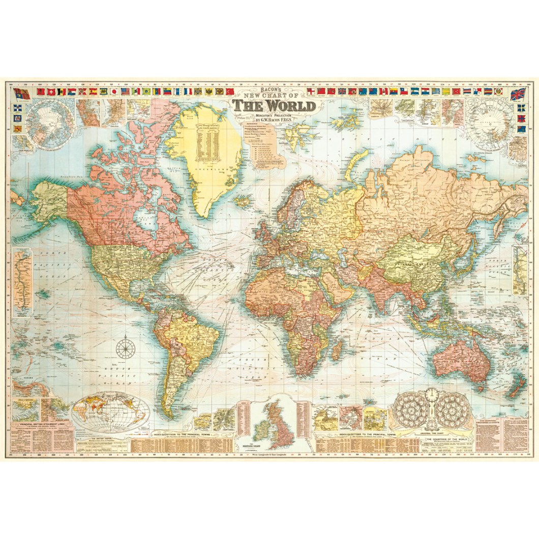 An art print and paper wrap which features a vinage map of the world.