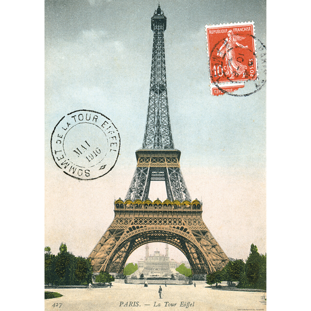 An art print and paper wrap which features an illustration of the eiffel tower, adorned with passport stamps