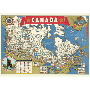 An art print and paper wrap which features a map of canada