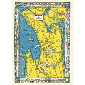 An art print and paper wrap which features a vinage map of seattle