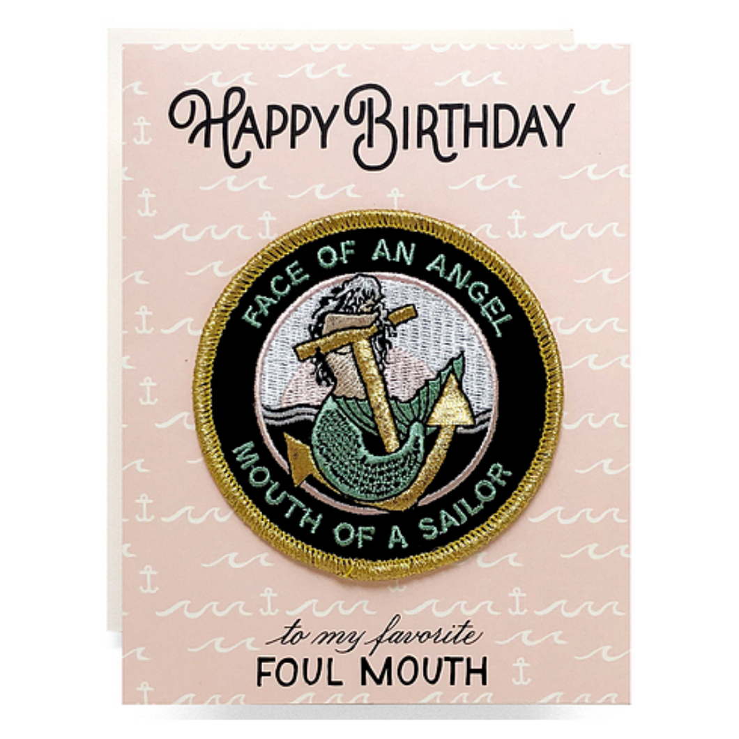 Face of an Angel Birthday Patch Greeting Card