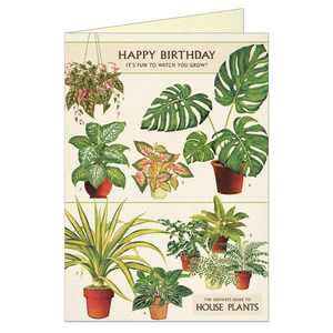 Vintage birthday card featuring illustrations of various houseplants