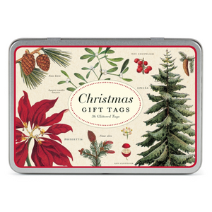 Christmas Botanica Glitter Gift Tags in Tin