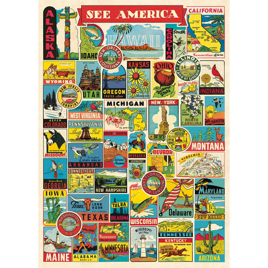An art print and paper wrap which features vintage posters of and icons from across the United States