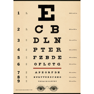 An art print and paper wrap which features a opthamologist eye chart