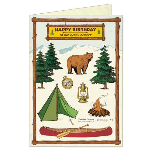 Birthday card that features vintage illustration of a bear, along with camping gear and the outdoors.